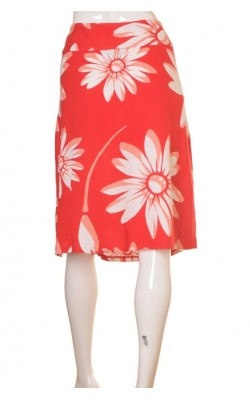 Fusta rosie cu flori Hennes by H&M, marime 44