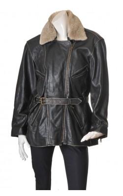 Geaca piele vatuita Leather Man Norway, guler blana, marime XL