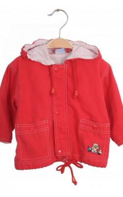Jacheta rosie ursulet pe buzunar Milou, 3-8 luni
