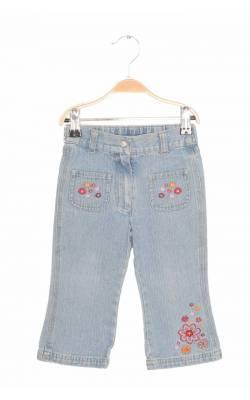 Jeans bleu cu flori brodate Friends, 18 luni
