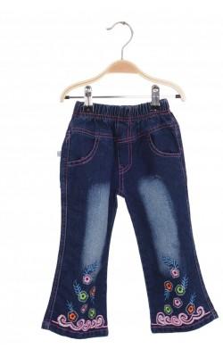 Jeans bleumarin cu broderie multicolora, 3 ani