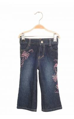 Jeans broderie fluturi roz Faded Glory, 18 luni