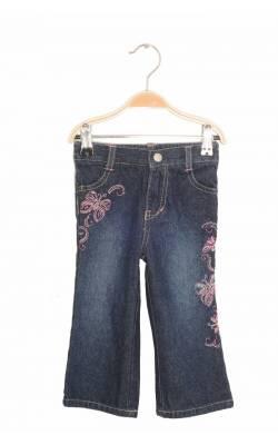 Jeans broderie fluturi roz Faded Glory, 18 luni