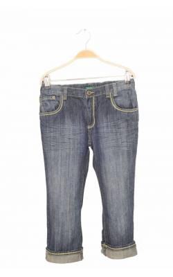 Jeans capri Benetton, cusaturi fir metalic auriu, 11-12 ani
