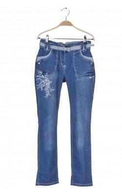 Jeans Claire, print floral, talie ajustabila, 12 ani