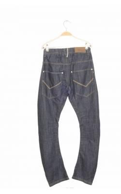 Jeans cu nasturi netalici albi D-Xel, talie ajustabila, 14 ani