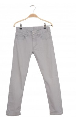 Jeans culoare gri H&M, talie ajustabila, 9-10 ani