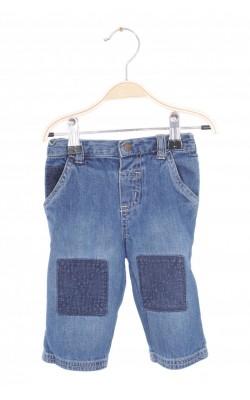 Jeans Faded Glory, aplicatii velur, 3-6 luni
