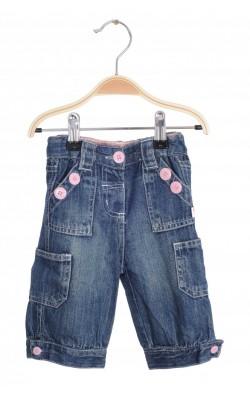 Jeans nasturi roz fetite, talie ajustabila, 6-9 luni