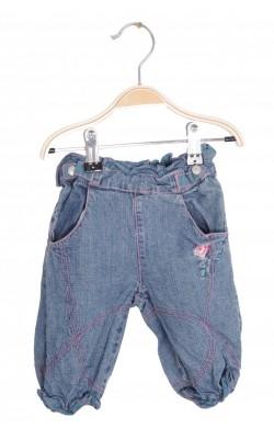 Jeans Name It, cusaturi roz, broderie florala, 1-3 luni