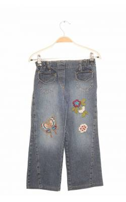 Jeans stretch broderie flori si fluturi Formina, 7-8 ani
