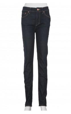 Jeans stretch navy H&M, regular waist slim leg, marime 38