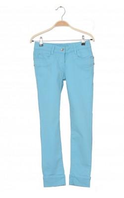 Jeans turcoaz C&A, cusaturi fir metalic, 11 ani