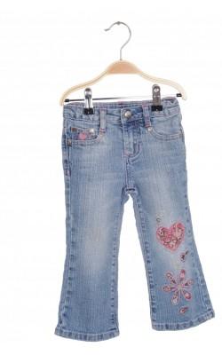 Jeans cu broderie Zanadi, talie ajustabila, 2 ani