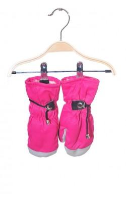 Manusi groase impermeabile gri cu roz, 6-8 ani