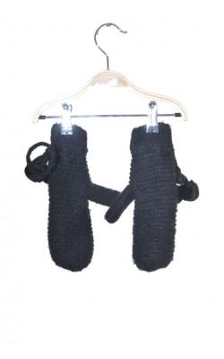 Manusi tricot negru cu captuseala polar, 12-14 ani
