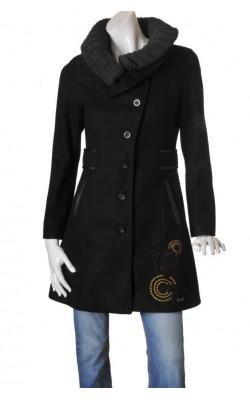 Palton Desigual, guler tricot lana detasabil, marime 38