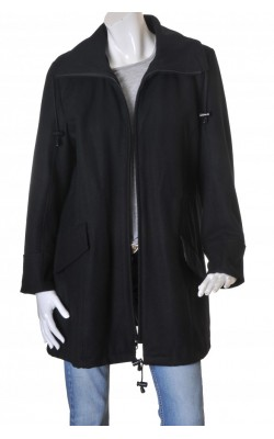 Palton negru vatuit din amestec lana Ze-Ze, marime XL