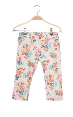 Pantaloni albi cu flori Lc Waikiki, talie ajustabila, 6-7 ani