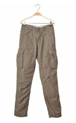 Pantaloni kaki H&M Lo.g.g., captusiti cu jerseu, 12-13 ani