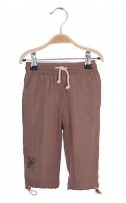 Pantaloni maro cu roz Little One, captusiti, 6-9 luni