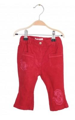 Pantaloni velur rosu Little One, talie ajustabila, 4-6 luni