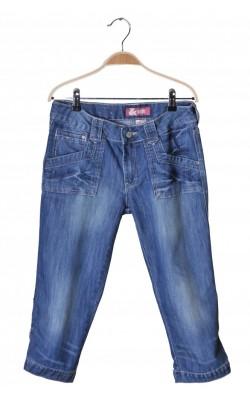 Pantaloni scurti denim H&M, cusaturi roz, 14-15 ani