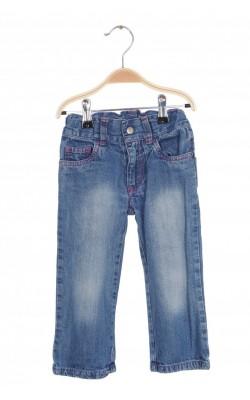 Jeans fetite talie ajustabila Mads&Mette, cusaturi roz, 2-3 ani