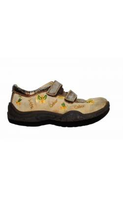 Pantofi bej cu auriu Gabor, piele, marime 27