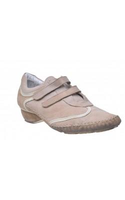Pantofi bej piele naturala Freemood, marime 41 calapod lat