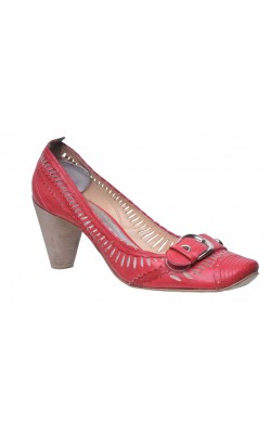 Pantofi Bronx, piele rosie lacuita, marime 41