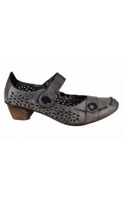 Pantofi gri din piele naturala Rieker, marime 41