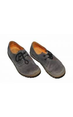 Pantofi gri petrol Waldviertler, piele intoarsa, marime 39