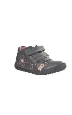Pantofi maro cu flori roz Lily Top, marime 28
