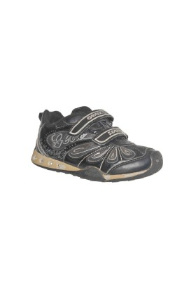 Pantofi negri decor argintiu Geox, talpa leduri, marime 28