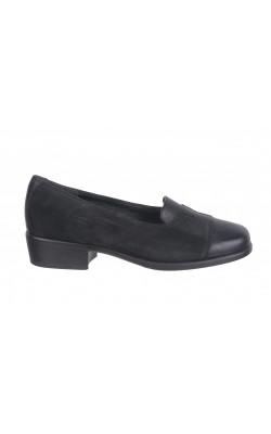 Pantofi negri Jaco Line, piele naturala, marime 37, calapod lat
