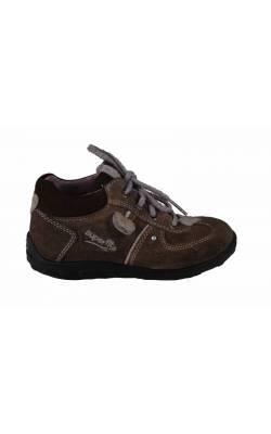 Pantofi piele bej inimioare lila SuperFit, marime 25