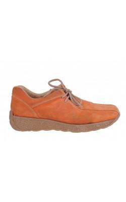 Pantofi piele intoarsa oranj Seven East, marime 37