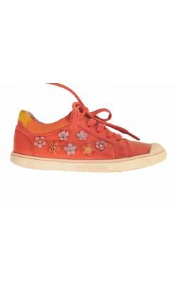 Pantofi piele rosie Elefanten, decor flori, marime 29