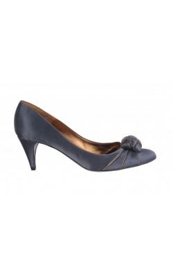Pantofi satin gri Pura Lopez, dungi cupru, marime 38