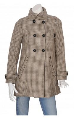 Pardesiu negru cu bej H&M, stofa lana, marime 36