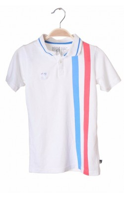 Polo alb Ugly Children's Clothing, bumbac organic, 7-8 ani