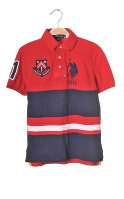 Polo rosu maneca scurta US Polo Assn, 8-10 ani