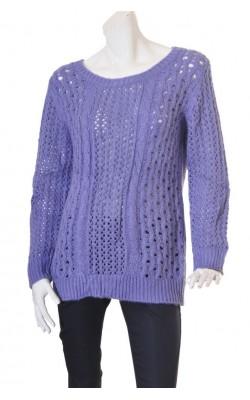 Pulover lila tricot ajurat Oasis, funda spate, marime L