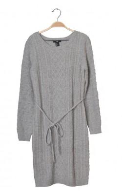 Pulover lung cu torsade H&M, lana, marime S