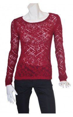 Pulover tricot ajurat, culoare rosu bordeaux, marime 38