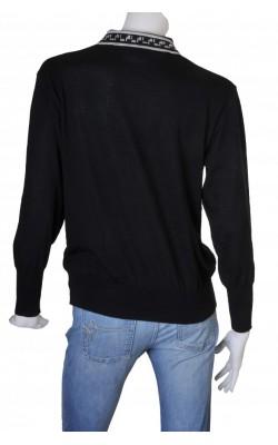 Pulover tricot fin negru guler brodat Bode, marime 40