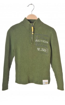 Pulover verde militar Bfly, tricot reiat din bumbac, 10 ani