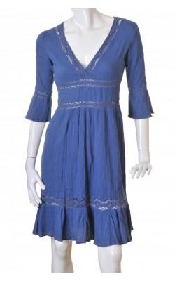 Rochie albastra din bumbac crepe H&M, marime 40