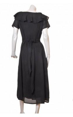 Rochie chiffon negru cu picatele albe, marime 44